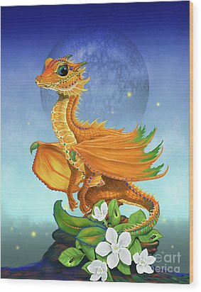 Orange Dragon Wood Print by Stanley Morrison