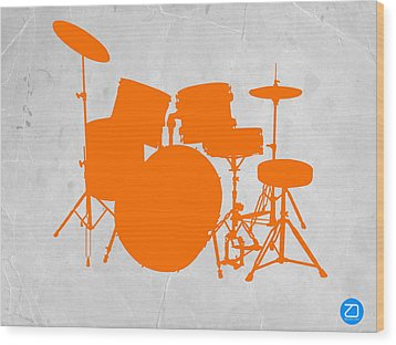 Orange Drum Set Wood Print by Naxart Studio