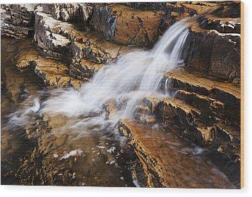 Orange Falls Wood Print by Chad Dutson