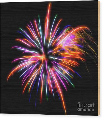 Wood Print featuring the photograph Orange Fireworks by Yulia Kazansky