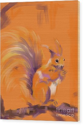 Orange Forest Squirrel Wood Print by Go Van Kampen