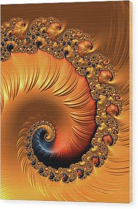 Wood Print featuring the digital art Orange Fractal Spiral Warm Tones by Matthias Hauser