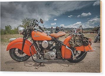 Wood Print featuring the photograph Orange Indian Motorcycle by Britt Runyon