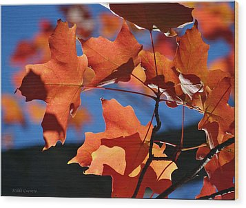 Orange Leaves Wood Print by Mikki Cucuzzo