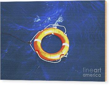 Orange Life Buoy In Blue Water Wood Print by Jacki Costi