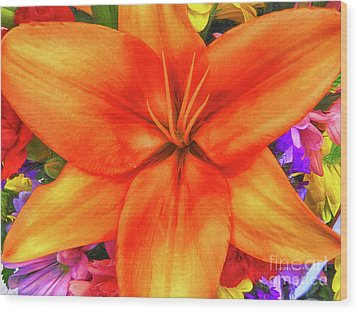 Wood Print featuring the painting Orange Lilly Art by Deborah Benoit