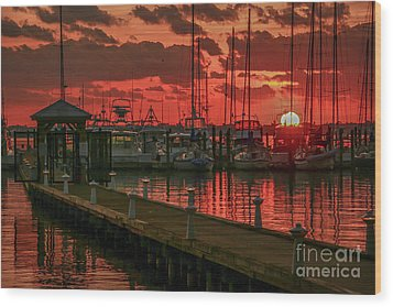 Orange Marina Sunrise Wood Print by Tom Claud