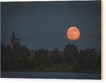 Orange Moon Wood Print