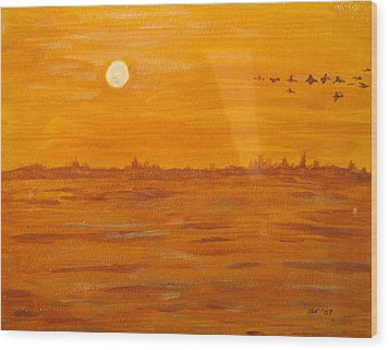 Wood Print featuring the painting Orange Ocean by Ian  MacDonald