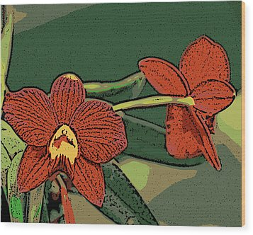 Orange Orchids Wood Print by Ann Tracy