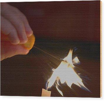 Orange Peel Flame Thrower. Wood Print by John King