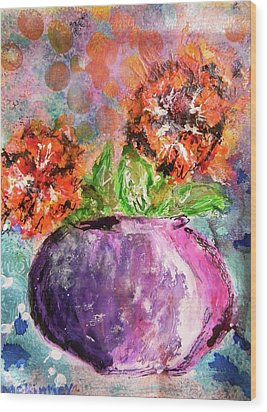 Wood Print featuring the mixed media Orange Poppies by Lisa McKinney