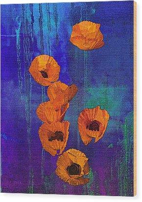 Orange Poppies Wood Print by I'ina Van Lawick