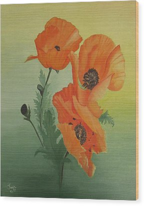 Orange Poppies Wood Print by Joan Taylor-Sullivant