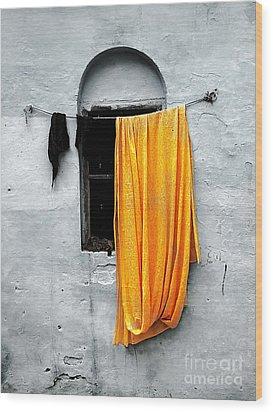 Orange Sari Wood Print