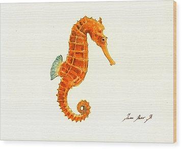 Orange Seahorse Wood Print