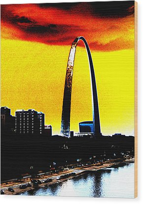 Wood Print featuring the digital art Orange Skies And The Arch by Maggy Marsh