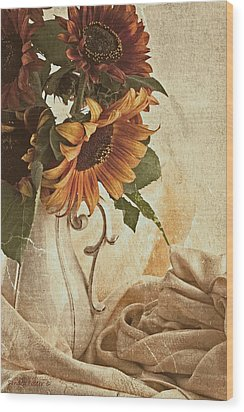 Orange Sunflowers - Found In The Attic Wood Print by Sandra Foster