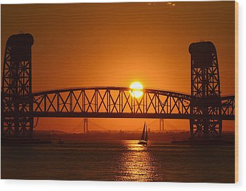 Orange Sunset Brooklyn Bridges Sailboat Wood Print by Maureen E Ritter