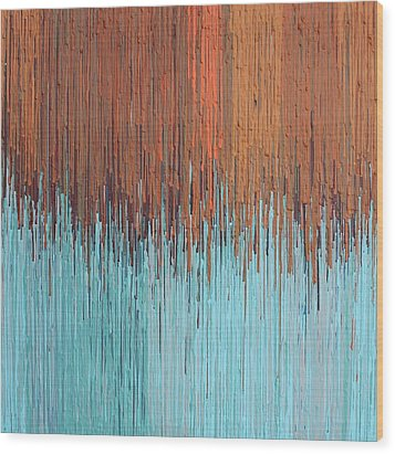 Orange Turquoise  Wood Print by Kate Tesch