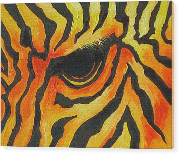 Orange Zebra Wood Print