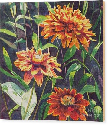 Wood Print featuring the painting Orange Zinnias by LeAnne Sowa