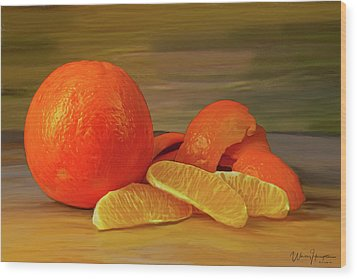 Oranges 01 Wood Print by Wally Hampton