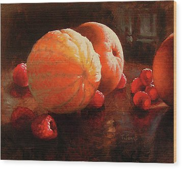 Oranges And Raspberries Wood Print