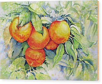 Oranges-in-italy Wood Print by Nancy Newman