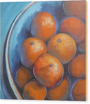 Wood Print featuring the painting Oranges On Blue Acrylic Original Painting by Chris Hobel