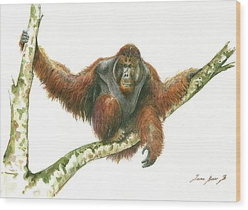 Orangutang Wood Print by Juan Bosco