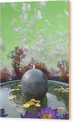 Wood Print featuring the photograph Orb Fountain by John Norman Stewart
