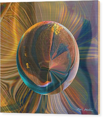 Wood Print featuring the painting Orbing Good Vibrations by Robin Moline