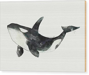 Orca From Arctic And Antarctic Chart Wood Print by Amy Hamilton