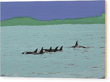 Orca Pod Wood Print by Al Bourassa