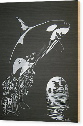 Orca Sillhouette Wood Print by Mayhem Mediums