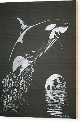 Orca Sillhouette Wood Print