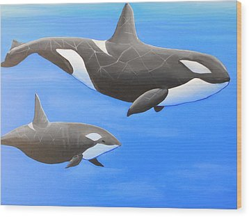 Orca With Baby Wood Print