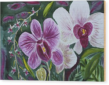 Wood Print featuring the painting Orchid At Aos 2010 by Donna Walsh