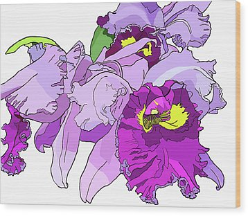 Orchid Cluster Wood Print by Jamie Downs