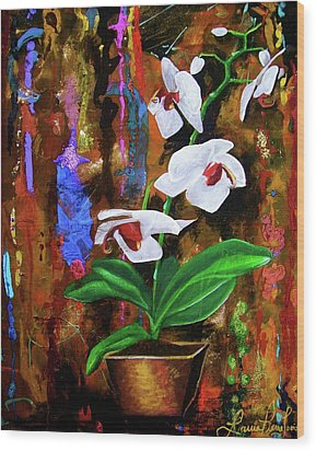 Orchid Hi Wood Print by Laura Pierre-Louis