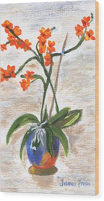 Wood Print featuring the painting Orchid by Jamie Frier