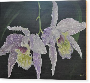 Wood Print featuring the painting Orchid Jewels by AnnaJo Vahle