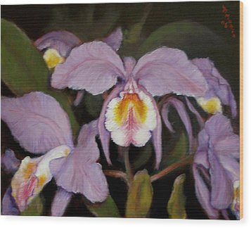 Wood Print featuring the painting Orchids by Donelli  DiMaria