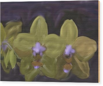 Wood Print featuring the digital art Orchids Golden by The Art of Alice Terrill