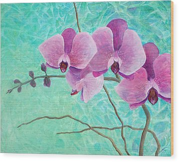 Orchids In Pink Wood Print by Arlissa Vaughn
