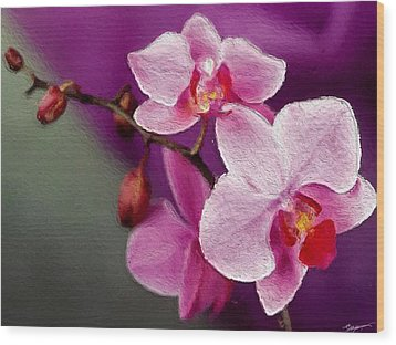 Orchids In Violets Wood Print by Anthony Fishburne