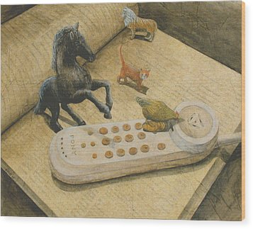 Ordering Pizza Wood Print by Sandy Clift