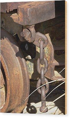 Ore Car Chain Wood Print by Phyllis Denton