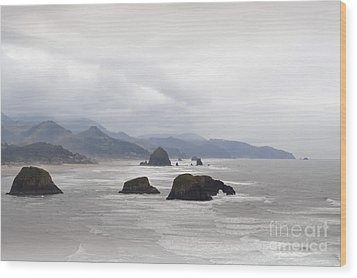 Oregon Coast Mountain Clouds Landscape Wood Print by Andrea Hazel Ihlefeld